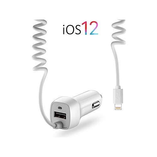 OKCS USB KFZ Ladegerät Lightninganschluss + Adapter Schnellladegerät - dehnbar - kompatibel mit iPhone, iPad, iPod, Galaxy, Xperia usw. - White