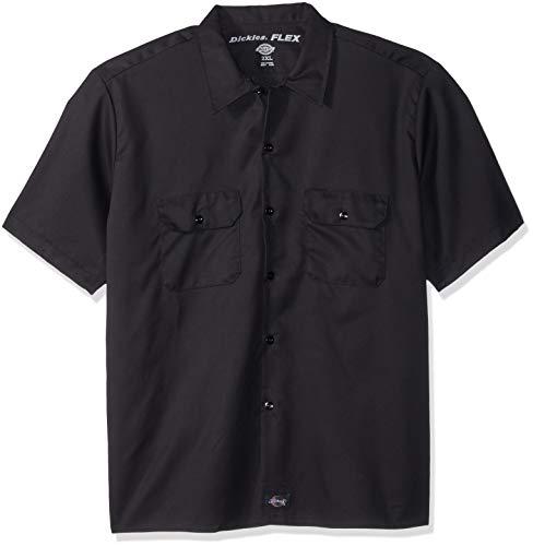 Dickies Herren Short-Sleeve Flex Work Shirt Slim Fit Button Down Hemd, schwarz, X-Groß -