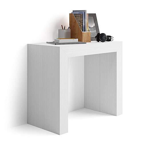 Mobilifiver Konsolentisch zum Ausziehen Angelica, weiße Esche, 45 x 90 x 76 cm