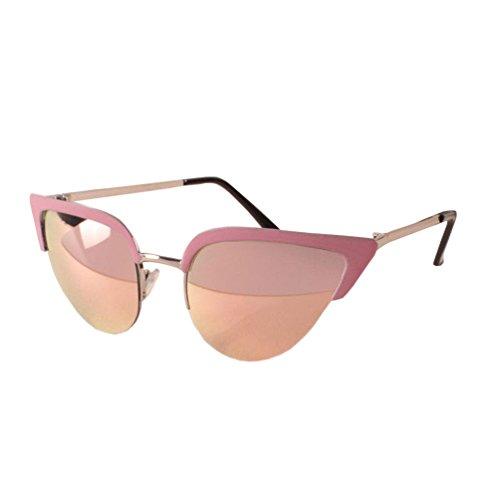 tansle la moda urbana de las mujeres espejo de grosor lentes ojo de gato marco de metal mujeres Gafas de sol rosa Gold/Pink