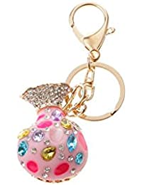 Banggood ELECTROPRIME Opal Money Purse Keychain Keyring Bag Charm Key Ring Pendant Gifts Pink