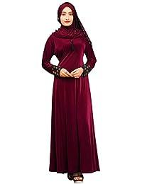 Justkartit Women's Lycra Velvet Embossed Abaya Burkha (JK4739_Maroon_Free Size)