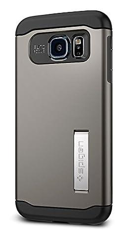Spigen ® Schutzhülle Samsung Galaxy S6 Hülle SLIM ARMOR [Air cushion-Kantenschutz] - Tasche Samsung Galaxy S6/ SVI, Doppelte Schutzschicht - dunkelgrau [Gunmetal -