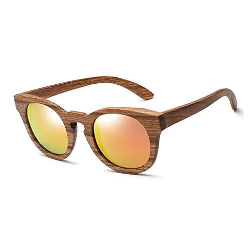 DX Polarisierte handgefertigte ovale Holzrahmen im Freien Fahren dekorative UV-Schutz Männer und Frauen Brille polarisierte Sonnenbrille (Farbe: rote Linse)