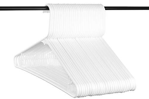 Best weiß Kunststoff Kleiderbügel w/Bar Haken, USA Made Langlebig Stahlrohr Erwachsene Kleiderbügel, Set von 30 -