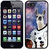 TeleSkins Schutzhülle für iPhone 5 / 5S (Kunststoff, Motiv Hipster Astronaut Llama Galaxy) Schwarz Schwarz-mobile-skin