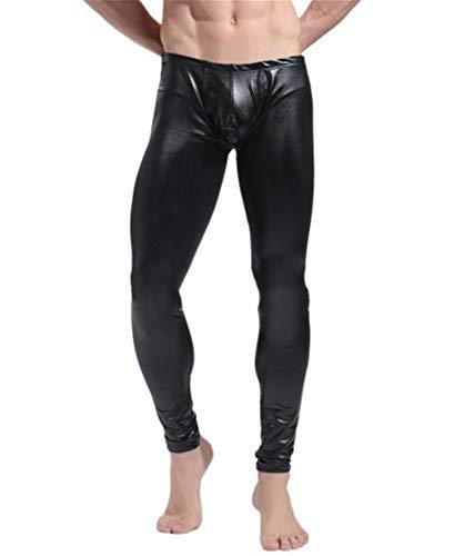 Pantalone Sexy da Uomo/Sexy in Pelle Verniciata/Pantaloni da Sera Pantaloni Elasticizzati, Pantaloni Inferiori in Ecopelle, Nero XXL
