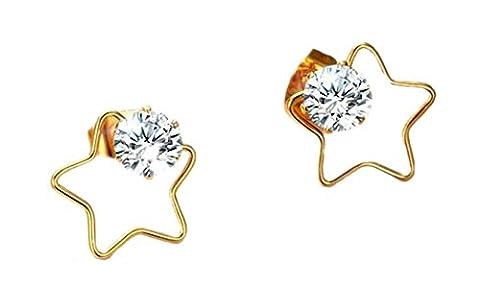 Onefeart Edelstahl Ohrringe Frau Zirconia Symmetrisch Star Muster Glänzend CZ Stil 13.8x13.2MM Gold