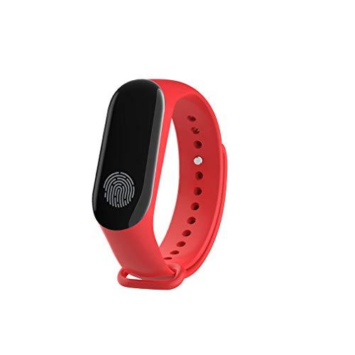 JIHUIA Schwarz Weiß Fingerabdruck Bildschirm Clever sehen, Fitness Tracker Puls Schlaf Blut Druck Monitor Kalorie Zähler - Bluetooth kompatibel iOS und Android,Red - Kalorien Zähler-monitor