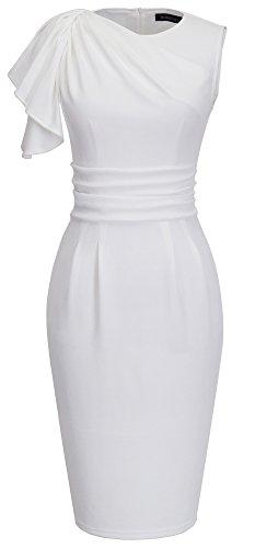 HOMEYEE B311 - Vestido fiesta de gasa, estilo Vintage, manga farol, longitud hasta rodilla blanco blanco 38