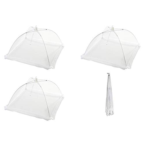 Kindpma coprivivande 4 pezzi popup bianco retine coprivivande pieghevoli copertura cibo precludere fuori mosche roditori uccelli a tavolo cucina casa giardino orto