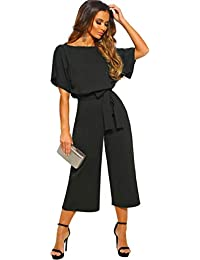 8459637ad1991a Longwu Women's Elegant High Waist Short Sleeve Jumpsuit Casual Wide Leg  Pants Loose Rompers with Belt