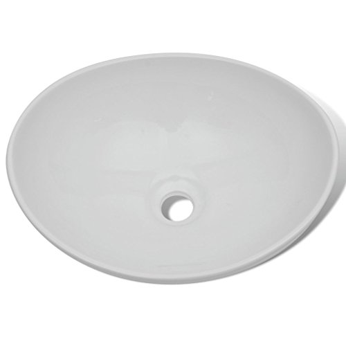 1e6a55385845 ... Lavabo Cerámico Lujoso en Forma Ovalado Blanco 40 x 33 cm ...