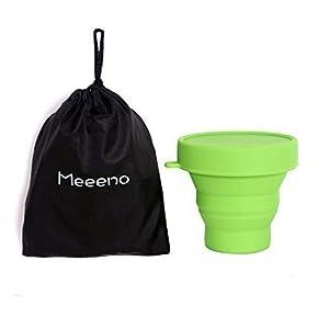 Meeeno Menstruationstasse Aufbewahrung, Sterilisierbecher für Menstruationstasse, aus Medizinischem Silikon, 170ml, -40°C – 220°C, Faltbar