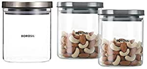 Borosil Classic Glass Jar For Kitchen Storage, Set of 2, (600ml + 600ml) & Classic Glass Jar for Kitchen Storage, 600 ml Combo