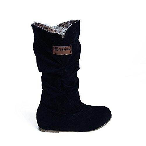Stiefel Damen Julywe Damen Herbst Winter Kniehohe Flache Ferse Nubuck Motorrad Boot Schuhe Stiefel Mode
