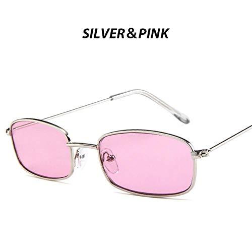 Loving Bird Unisex Small Sonnenbrille Damen Retro Red Sonnenbrille 2019 Metallrahmen Rechteck Square Sonnenbrille für Herren Punk Shades UV400, Silber-pink