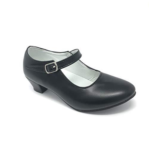 Flamenco-Schuhe, Tanzschuhe, sevillanisches Design, für Damen/Kinder, Schwarz/Weiß - EU 34 - Schwarz