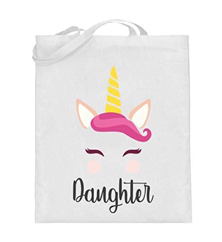 Daughter Einhorn Partnerlook Tasche - Papa Und Tochter Beutel - Jutebeutel (mit langen Henkeln) - Una Das Weiße Einhorn Kind Hoodie Kostüm