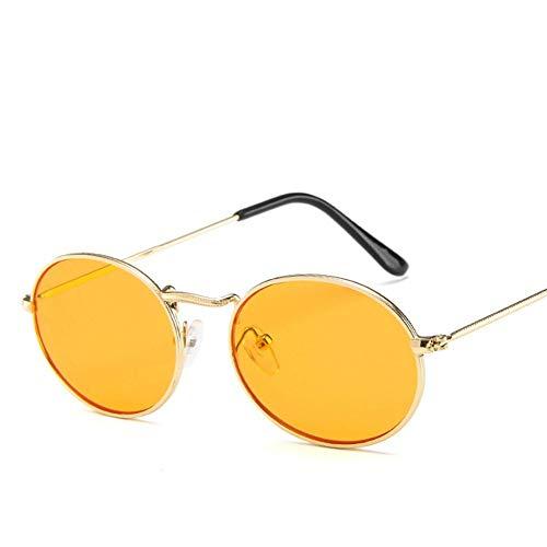 MJDABAOFA Sonnenbrillen, Sonnenbrille Frauen Designer Gold Rahmen Orange Linse Oval Metall Gläser Für Männer Vintage Spiegel Uv400 Fahren Retro Gläser