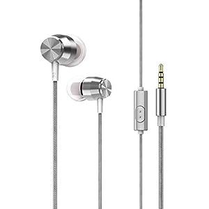 Pandiki 3,5-mm-Metall In-Ear-Kopfhörer Stereo Bass-Freisprecheinrichtung anrufen Wired Earbuds Eingebautes Mikrofon 1…