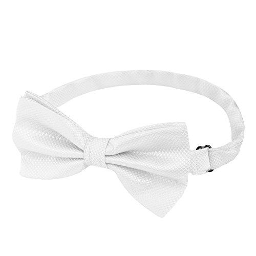 Silverback • Fliege Weiß Herren Glänzend • Gebunden und Verstellbar • Fliegen für Männer mit Gummiband • Schleife in 15 Farben Matt und Glänzend • Krawatte zum Anzug Smoking Hemd