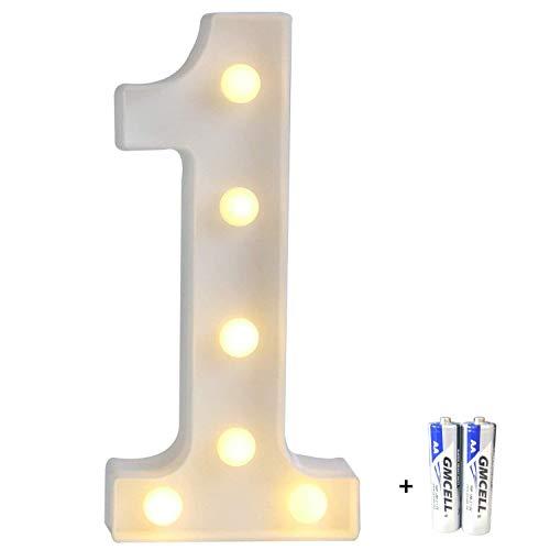 LED Buchstabe Lichter Alphabet, LED Brief Licht, Led dekoration für Geburtstag Party Hochzeit & Urlaub Haus Bar - Nummer 1