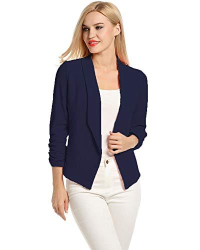 LaLaLa Damen Eleganter Blazer Jacke Business Jacke Anzug Sakko (Navy blau,XL)