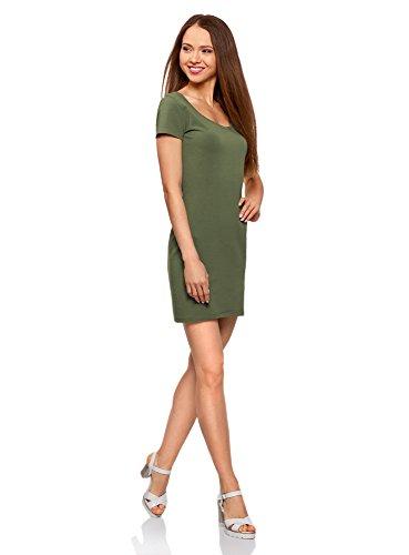 oodji Ultra Damen Enges Jersey-Kleid Grün (6900N)