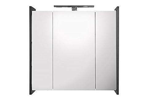 Galdem ELEGANCE Spiegelschrank 70cm Badezimmerschrank Wandschrank Badmöbel 3 Spiegeltüren LED