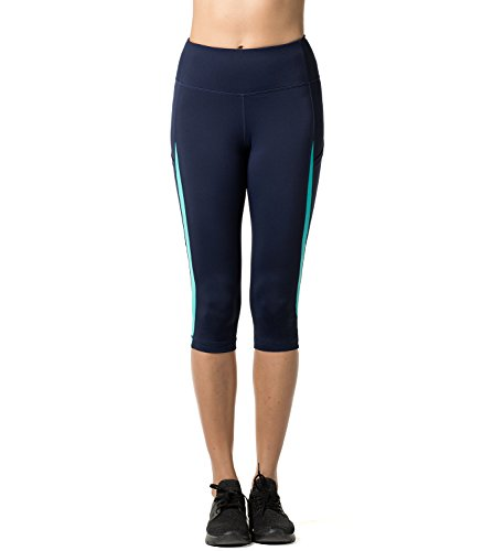 rt Leggings,1 bis 2 Pack, 3/4 Yoga Sporthose, Damen kurz Training Tights L002 (Dunkelblau + Türkis, S (Taille 60-70 cm, Schrittlänge 46cm)) ()