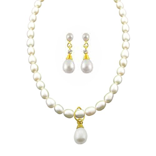 Sri Jagdamba Pearls Pearl Pendant Set for Women