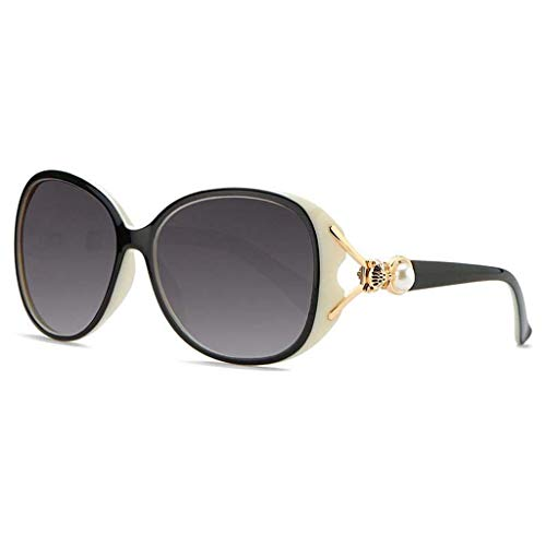 MEIEI Sonnenbrille, Polarisierte Sonnenbrille, Damen, Großer Rahmen, Objektiv, Fox, Perle, UV400, Schutz, Fahren, Mehrfarbiger Rahmen, Optional (Color : Black and White Frame)