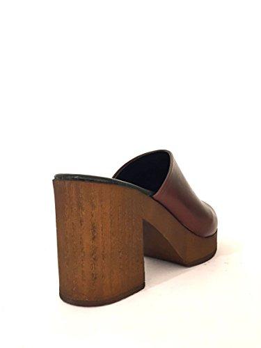 Scarpe sabot JN513 in pelle con tacco largo zoccoli zeta MainApps Cuoio