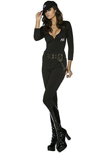Outfit Sexy Räuber (Damen Sexy Fever FBI Flirt Polizist Polizist Uniform Overall Polizisten & Räuber Helden Helden & Bösewichte WPC Polizistin Gesetz Vollzug Rettungsdienste Party Kostüm Outfit - Schwarz,)