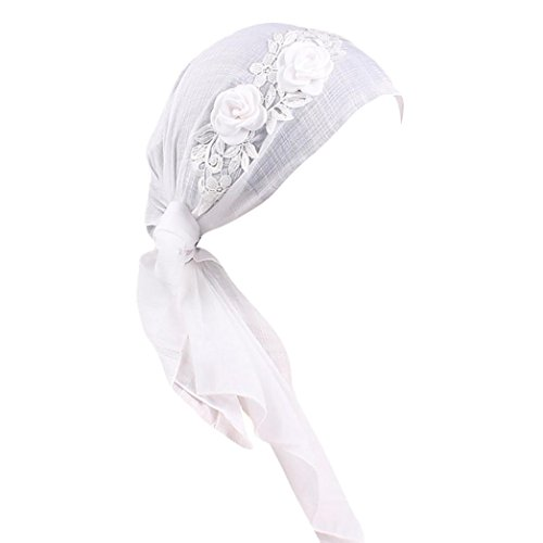 URSING Frauen Indien Muslim Stretch Retro Blumenmuster mit Weich Baumwolle WunderschöneTurban Hut Kopftuch Islam Wrap Cap Headwear für Haarverlust, Krebs, Chemotherapie (Weiß)