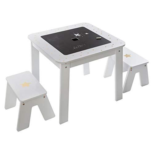 Prix Atmosphera – Table de Jeux avec Rangement et Plateau Réversible + 2 Tabourets pour Chambre d'enfant