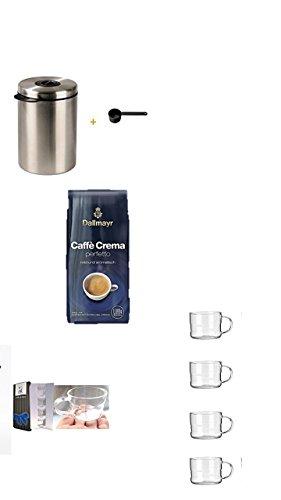 Xavax Kaffeedose für 1kg Kaffeebohnen, Tee, Kakao, mit Aromaverschluss, Edelstahldose, silber + Dallmayr Kaffee Caffè Crema Perfetto Kaffeebohnen, 1er Pack (1x 1 kg) + Design Glastasse, Kaffeetasse, Kaffee, Tasse, Glas, Espresso 100ml, 4er Pack im Geschenk Karton