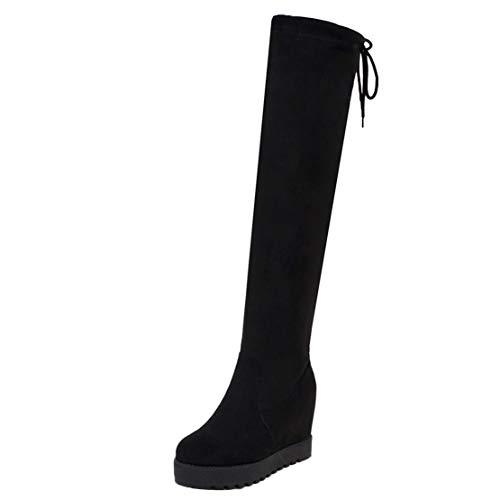 AIYOUMEI Langschaftstiefel Keilabsatz Plateau Stiefel mit Schnürung Keilstiefel Damen Stretch Boots Winter Schwarz 41 EU