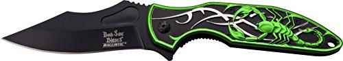 DARK SIDE BLADES Taschenmesser DS-A048 Serie, Messer dreifarbig SKORPION GRÜN ALU Griff, Outdoormesser 9,53 cm ROSTFREI Klinge, leicht 200gr Klappmesser -