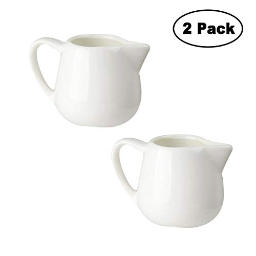 Tougo 2 Stück Milchkännchen, 100 ml Milk Pitcher Milchschaumkännchen Milchkanne Klein aus Keramik, Perfekt für Kaffee Sahne Soße, Weiß Kleine Keramik