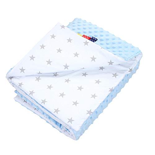 TupTam Babydecke Kuscheldecke 75x100 Plüsch Minky Gemustert, Farbe: Sterne Grau/Blau, Größe: 75 x 100 cm (Kuscheldecke Blau-grau)