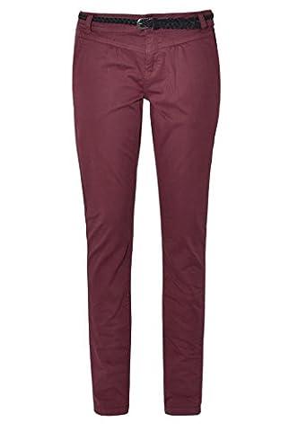 Urban Surface Damen Chino-Hose | Elegante Stoffhose mit Flecht-Gürtel aus bequemer Baumwolle dark-red M