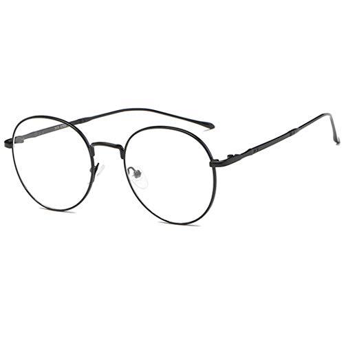 Tankaa Metall Brille Retro Glasrahmen-Ebenenspiegel Dekobrille Nerdbrille Klassisches Slim Rund Rahmen Glasses Clear Brille