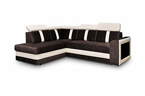 Ecksofa Sofa Eckcouch Couch mit Schlaffunktion und Bettkasten Ottomane L-Form Schlafsofa Bettsofa Polstergarnitur - TEXAS (Ecksofa Links, Braun)