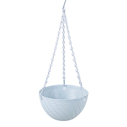 Ounona cestino di plastica a forma di vaso in metallo resistente catena porta piante vasi di fiori decor hanging indoor outdoor pensili (luce blu)