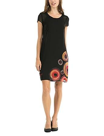 desigual eudocia robe crayon imprim manches courtes femme noir negro fr 46. Black Bedroom Furniture Sets. Home Design Ideas