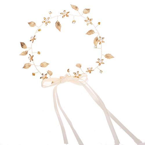 VIccoo Haarreifen, Damen Romantische Metallic Gold Blätter Blume Stirnband Hochzeit Braut Imitation Perle Strass Haarband Lace Up Ribbon Crown - Gold -