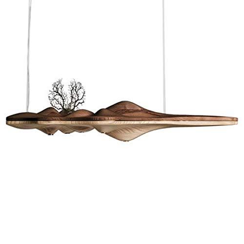 Kreative UFO Massivholz Harz Kronleuchter Lampe chinesischen japanischen Nordic LED Kronleuchter Retro Zweig Lampe für Wohnzimmer, mischen Farbe, warmes Weiß 5x3w, 120X40X23cm, Massivholzkörper 120-v-ac-zweig