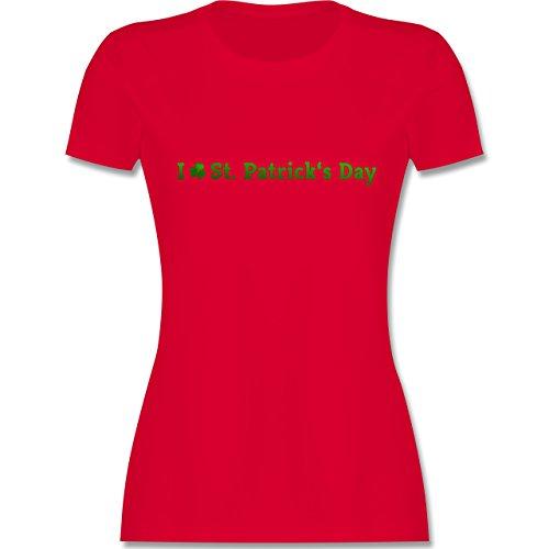 Festival - I love St. Patrick's Day - tailliertes Premium T-Shirt mit Rundhalsausschnitt für Damen Rot